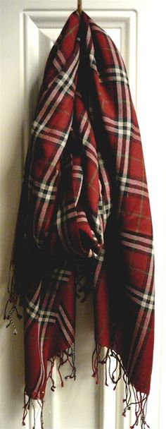 Red Plaid Cashmere Shawl/ This would be so pretty to wear during Christmas with a black dress.