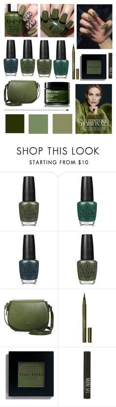 """Dark green nail polish #nailedit"" by vintagedaisy1 ❤ liked on Polyvore featuring beauty, OPI, China Glaze, Angela Roi, Stila, Bobbi Brown Cosmetics, Topshop, Origins, followme and l4l"