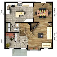 Modèle maison usinée 734 (rez-de-chaussée)