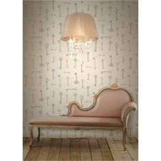 Fine Decor Keys Wallpaper Taupe / Gold / Cream