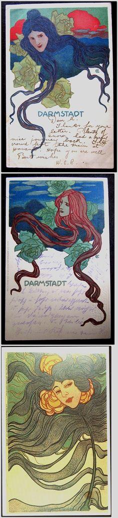 1)  Hans Christiansen Art Nouveau Postcard, 1906, Darmstadt Art Exhibition  2)  Hans Christiansen Art Nouveau Postcard, 1901, Darmstadt Art Exhibition  3)  ART NOUVEAU - HANS CHRISTIANSEN - GERMANIA 1902