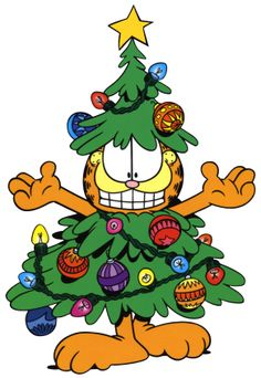 Garfield Christmas Tree Costume Clipart Image - I-Love-Cartoons.com