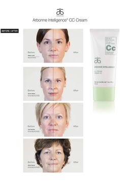 ARBONNE Intelligence CC Cream. Before and after pictures using JUST ONE! If interested in Arbonne contact me today.  afascianella.myarbonne.com