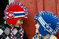 Montreal Canadiens and Toronto maple leaf made by Shana's Creations www.facebook.com/shanascreations12 Diy Blankets No Sew, Knitted Blankets, Knitted Hats, Knitting Yarn, Knitting Patterns, Crochet Patterns, Knitting Ideas, Knit Or Crochet, Crochet For Kids