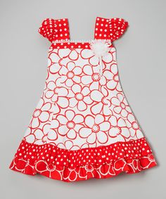 Look what I found on #zulily! Red & White Polka Dot Floral Cap-Sleeve Dress - Toddler & Girls by Roberto Toscani #zulilyfinds. $29.99