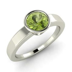 Round Peridot  Solitaire Ring in 14k White Gold