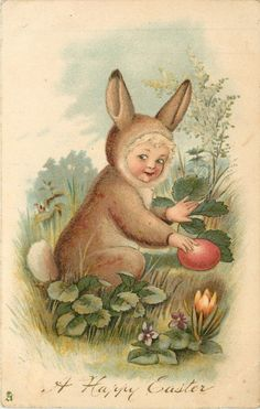 A HAPPY EASTER 1906 ~ Child in bunny suit finds an Easter egg - Or is it my sister Sophie in disguise? Easter Art, Easter Crafts, Easter Bunny, Easter Eggs, Easter Greeting Cards, Vintage Greeting Cards, Vintage Postcards, Vintage Easter, Vintage Holiday