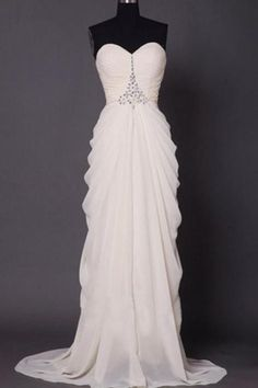 Sweetheart Bridal Dress with Beading,Simple Bridal Dress with Pleats,Elegant Prom Dress,JD 235