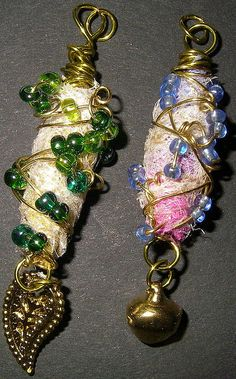 fabric beads - idea to wrap around a crystal