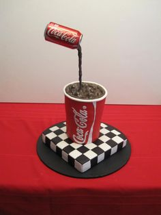 Coca-Cola cake-my dad might like this! Cupcakes, Cake Cookies, Cupcake Cakes, Fondant Cakes, Coke Cake, Coca Cola Cake, Unique Cakes, Creative Cakes, Gravity Defying Cake