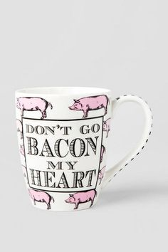 """Don't Go Bacon My Heart"" - This mug is the perfect little gift for any one of your friends or family!<br />  <br />  - Ceramic<br />  - Includes box with bow & gift tag<br />  - Exclusively for Francesca's<br />  - By Mudpie<br />  - Imported<br />"