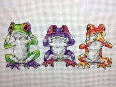 Tree Frog Trio Counted Kit - cross stitch