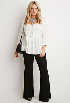 Plus Size Stretch Knit Flared Pants