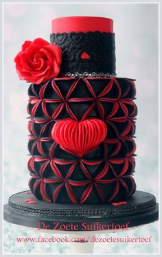 Love..... - Black and red Valentine cake with sugar red rose. Made of fondant.