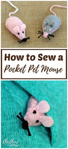 Sew a pocket pet mouse felt softie with the kids as a beginning sewing project! Contains free printable pattern. A pet mouse makes a great lovey or comfort object to send children back to school. An easy handmade gift idea kids can make and cats love fill