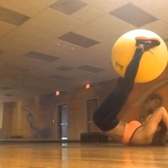 """I love this ball. If you don't have one....get one! Put your hands behind your head (not your back), get your booty off the ground and squeeezeeeee the ball. Add a lift for an extra challenge!  I know the song says """"on"""" the floor but today it says """"OFF"""" the floor #BecauseISaidSo learned that from my mom.  #OkTimeToEat #FirstNameHungryLastNameAlways #Padgram"""