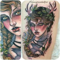Daily Garlic: Nordic Goddess Freya interpretation by Dani Green at Dragstrip Tattoo in Southampton (UK)