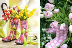 DIY arreglo de flores con botas de agua
