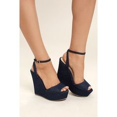530be919b Nahele Blue Denim Ankle Strap Wedges ( 36) ❤ liked on Polyvore featuring  shoes