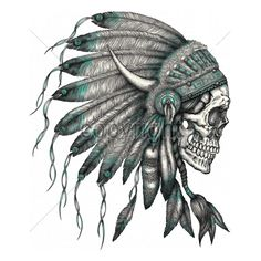 11x14  - SKULL INDIAN HEADRESS - headress, indian, Native American, Plastisol Transfer, skull, Skulls, weed, Young Adult