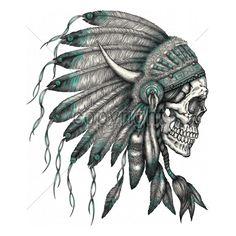 11x14  - SKULL INDIAN HEADRESS - headress, indian, Native American, Plastisol Transfer, skull, Skulls, weed, Young Adult