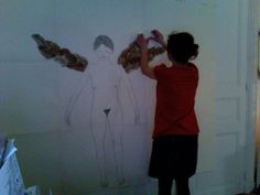 "working on my big drawing ""Pyshé as a Venus"", years ago..."