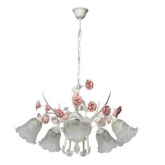 MW-Light 422010305 Elegent and Graceful Pendant Chandelier White Metal Colour Decorated with Pink Ceramic Flowers in Art Deco Style Matt White Glass Open Shades for Bedroom or Living Room Downward Light 5 x White Chandelier, Rustic Chandelier, Pendant Chandelier, Ceramic Flowers, Large Crystals, Design Case, Art Deco Fashion, Pink Flowers, Ceiling Lights