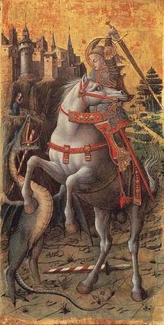 Carlo Crivelli - Polittico di Porto San Giorgio - San Giorgio che uccide il drago è un dipinto a tempera e oro su tavola (90x46 cm) di Carlo Crivelli, datato 1470 e conservato nell'Isabella Stewart Gardner Museum di Boston. Era lo scomparto destro del Polittico di Porto San Giorgio.