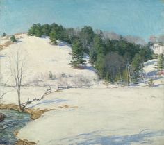 """""""The Last Snow,"""" Willard Leroy Metcalf, 1922, oil on canvas, 26 x 29"""", private collection."""