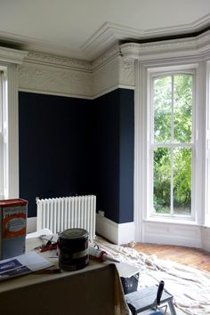 Transforming a Victorian living room with Farrow & Ball's Off Black and Shadow White, how Masonic villas turns monochrome (and looks stunning in the process) Victorian Living Room, Victorian Homes, Victorian Windows, Front Rooms, Farrow Ball, Black Walls, Room Colors, Paint Colors, New Blue