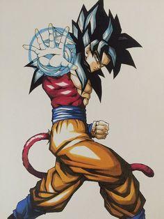 Amazing fanart of Goku ssj 4 Dragon Ball Gt, Dragon Z, Foto Do Goku, Super Saiyan 4 Goku, Dbz Characters, Beautiful Dragon, Manga Anime, Digimon, Pokemon