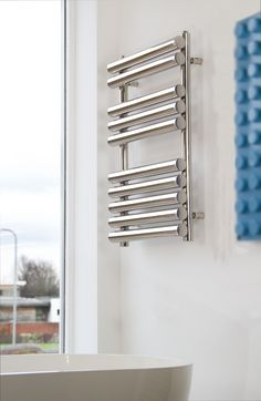 UK suppliers of powerful high heat output towel warmers made of stainless steel. Great heat source for bathroom. Stainless Steel Towel Rail, Bathroom Towel Rails, Bathroom Radiators, Towel Radiator, Towel Warmer, Blinds, Big, Ideas, Design