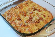 Hash Brown, Bacon and Gruyere Soufflé with Cheese Sauce