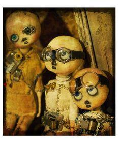 steampunk art, handmad doll, doll artist, doll steampunk, print art, art paper, art dolls, paula nerhus, eye