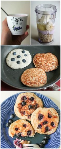 """Healthy Pancakes made in the blender with oatmeal, yogurt, banana and an egg! Easy to make, filling and high in protein!"""