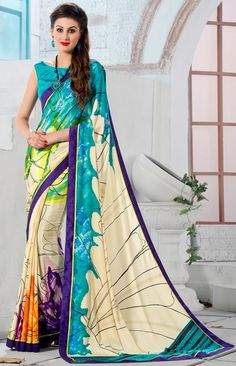 Multicolor #Crepe #Silk #Saree with Blouse - #Digital #Print Collection