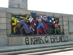 Bulgarian pranksters are repainting Soviet-era monuments to look like American comic characters.