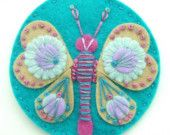 EMBROIDERED FELT BUTTERFLY BROOCH WITH FREEFORM EMBROIDERY