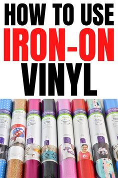 EVERYTHING you need to know about Iron-On Vinyl including types of HTV, what to use it on, how to use it, project ideas and more! Cricut Iron On Vinyl, Buy Vinyl, Used Vinyl, Cricut Tutorials, Cricut Ideas, Cricut Heat Transfer Vinyl, Vinyl Board, How To Use Cricut, Vinyl Clothing
