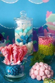 First Birthday Ideas! Little Mermaid Party for our Little Mermaid Princess :) Mermaid Theme Birthday, Little Mermaid Birthday, Little Mermaid Parties, Bubble Guppies Birthday, Party Fiesta, Ocean Party, Under The Sea Party, 1st Birthday Parties, Birthday Ideas