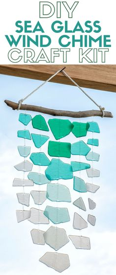 Create a handmade sea glass wind chime and enjoy the summer breeze. The craft kit includes all the supplies you need. A simple DIY craft tutorial idea. craft ideas