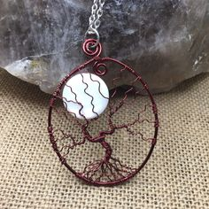 Moon tree of life necklace, tree necklace, wire tree of life, wire wrapped necklace, tree of life moon necklace, tree of life, moon necklace by SugarHillGems on Etsy #wirewrappedjewelry #treeoflife #handmadejewelry #etsy #necklace #boho #nature #moon #tree #nature