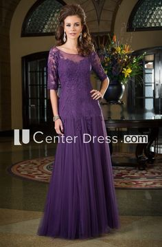 Half-Sleeved Long Mother Of The Bride Dress With Dropped Waistline And Appliques - UCenter Dress Country Dresses, Country Outfits, Bridesmaid Dresses, Prom Dresses, Formal Dresses, Wedding Dresses, Wedding Guest Gowns, Mother Of The Bride Dresses Long, Plus Size Prom
