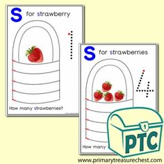Strawberry Themed Numeracy and Pencil Control - Letter 's' - Primary Treasure Chest Ourselves Topic, Sound Art, Activity Sheets, Letter Sounds, Numeracy, Treasure Chest, Phonics, Teaching Ideas, Initials