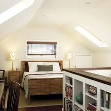 attic master suite - Gwith built in bookcases on knee wall stairs
