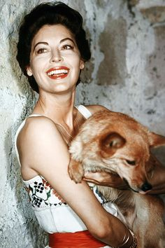 Ava Gardner with her dog