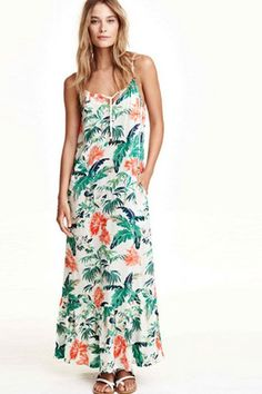 Cute Spaghetti Strap Print Ankle-Length #MaxiDress For #Women #LookFamous,#Lookoftheday,#Fashionable,#sexy