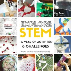 A collection of our best STEM activities for a whole year of STEM. Hands on science, technology, engineering, and math activities for young kids. Fun STEM challenges for preschool, kindergarten, and grade school kids.
