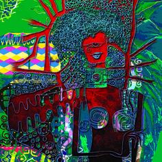 Cód 1019 ET - Artista: Edson Verti - Tamanho: 124x124 - Técnica mista impressão digital  sobre Tecido