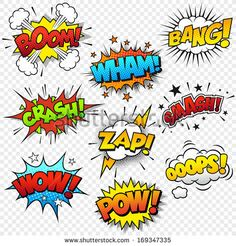 Collection of nine multicolored comic sound Effects by Fourleaflover, via Shutterstock